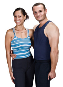 Photo of fitness professionals by gender: male and female.