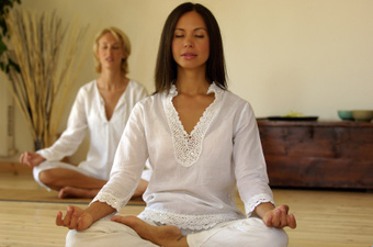 Photo of meditation class in progress.