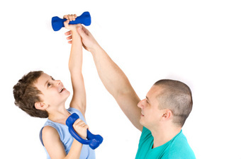 Image Of fitness coach instructing a young trainee.