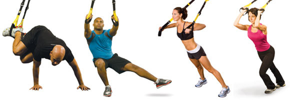 Photo of users using suspension trainers as a training tool.